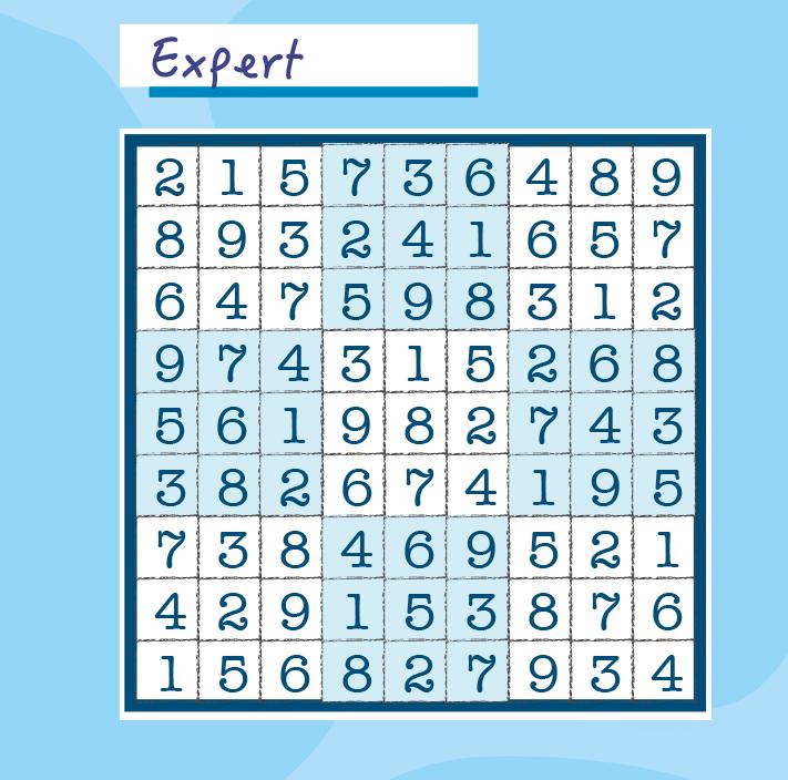 Résultats du Sudoku expert Page 88 du magazine.